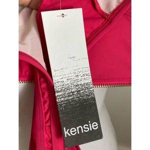 Kensie Swim - Kensie • NWT Pink Zip Up High Neck Bikini Top